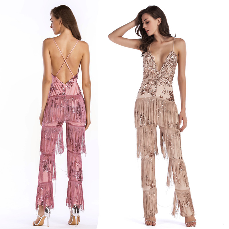 Sexy Club Tassel Jumpsuits Sexy V neck Sleeveless Backless Strap Sequin Jumpsuit Women Long Bodysuit