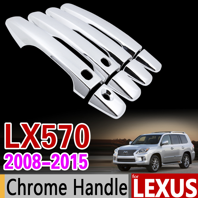 for Lexus LX570 2008 - 2015 Chrome Handle Cover Trim Set J200 2009 2010 2011 2012 2013 2014 Car Accessories Stickers Car Styling car rear trunk security shield cargo cover for lexus rx270 rx350 rx450h 2008 09 10 11 12 2013 2014 2015 high qualit accessories