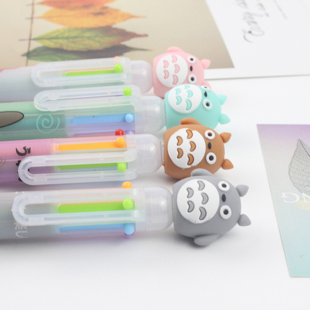 1PC 6 Colors In 1 Ballpoint Pens Cute Totoro Pens Kawaii Multicolor Ball Pens For Kids Gift School Office Supplies Stationery 5