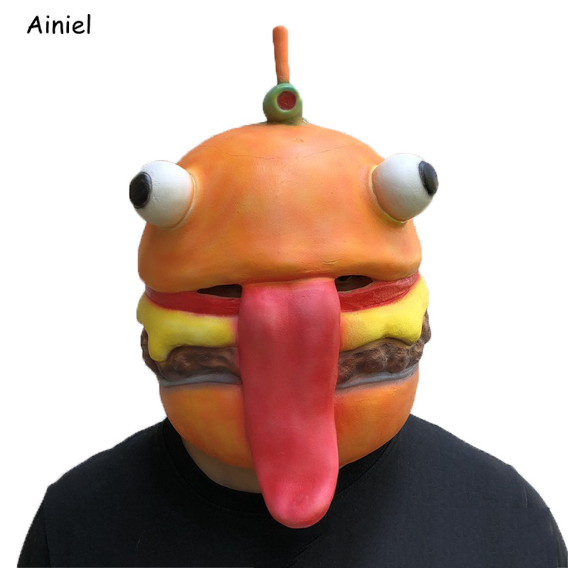 Fortnight Hamburger Mask Cosplay Costumes Halloween Full Face Latex Fancy Halloween Mask Helmet Adult Long Tongue for Women Man