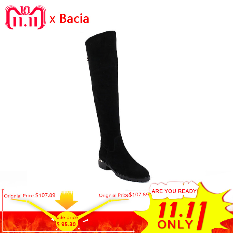 Bacia Fashion Black Over Knee Boots Suede Leather Boots With Warm Plush Handmade High Quality Classical Botas Women Shoes VC003 bacia russian original design boots knee high platform boot genuine leather quality shoes handmade footwear women botas vc001