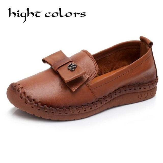 Bow Style Loafers Women Handmade Flat Shoes Genuine Leather Leisure Ladies Shoes Soft Sewing Woman Causal Work Flats Big Size 43
