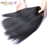 Brazilian Permed Light Yaki Straight Human Hair Extension Only 1 Bundle Dreamme Queen 100% Remy Hair Products Natural Black