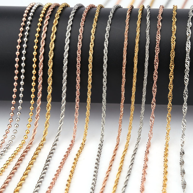 316L Stainless Steel necklace 2/2.4/3 mm Fashion bead distortion Chian Men Women