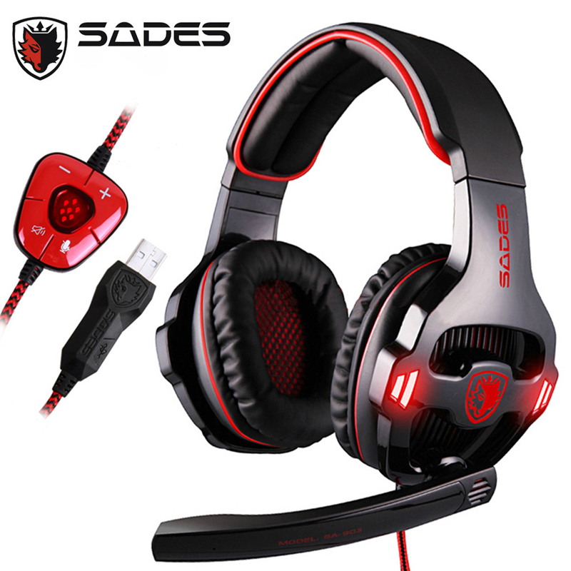 Sades SA-903 USB 7.1 Gaming Headset Big Wired Headphones with Mic Volume Control Noise Cancelling For razer gamer casque earfun brand big headphones with mic