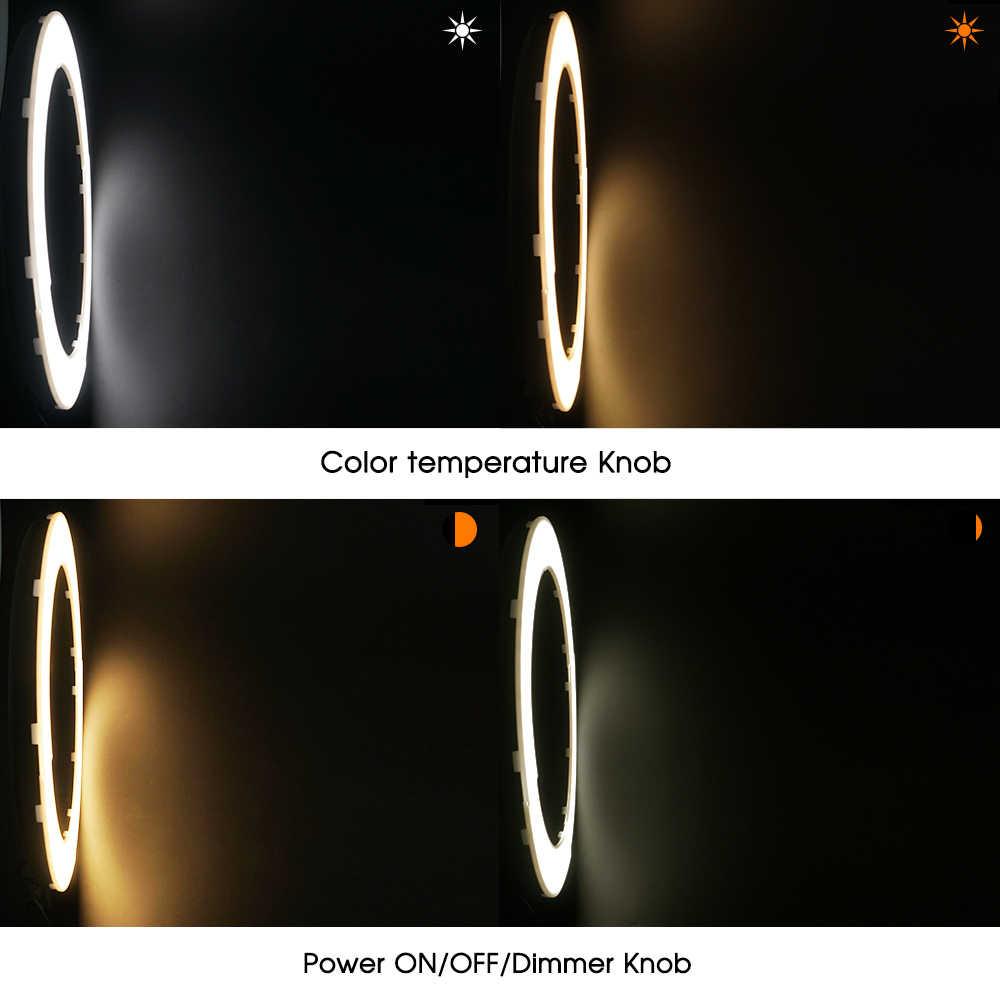 A cor bi de travor 384 pces conduziu a luz regulável do anel 3200 k-5500 k 45 w cri90 fotografia composição anel luz lâmpada para transmissão ao vivo vídeo