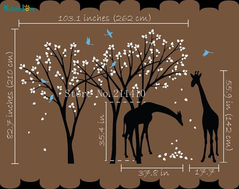 Piuttosto Due Giraffa Bella Alberi Adesivo Da Parete In Vinile Nuesery Camera Da Letto Per Bambini Sala Giochi Carino Complementi Arredo Casa Rimovibile Decalcomanie YT646 - 2