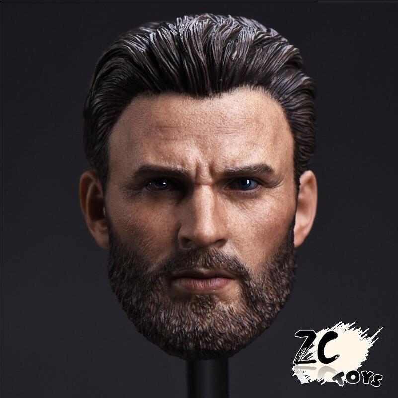 CN ZCTOYS 16 Captain America Head Carved Beard . Chris Evans F 12'' HT Figure