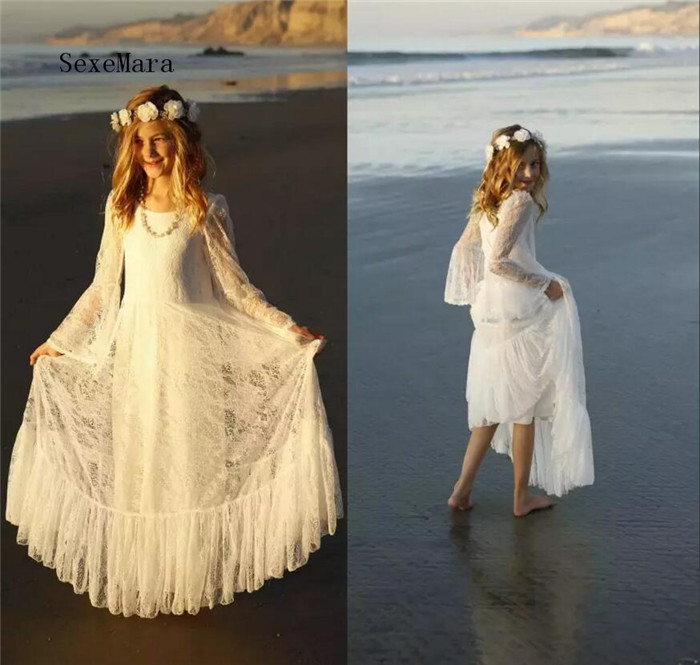 2018 Boho White First Communion Dress for Girls Flower Girls Dress Bohemian Beach Style Long Sleeve Floor Length Custom Made bohemian long sleeve printed cut out women s dress