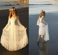 Ivory White Boho First Communion Dress for Girls Flower Girls Dress Bohemian Beach Style Long Sleeve Custom Made High Quality