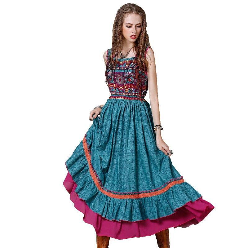 À Partie Ruches Blue Dames Palangre X1214 Lin Et Vintage La Femmes 2018 Aboorun Patchwork National Coton Robe XPkuTZiO
