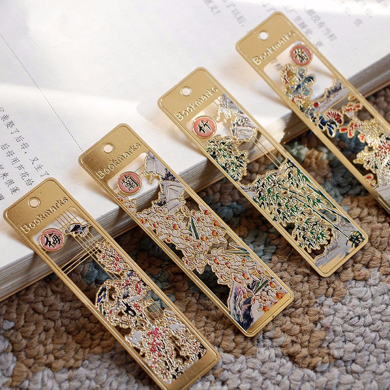 4Pcs/Set 24K Gold Plated Chinese Classical Style Bookmark Merlin Bamboo Chrysanthemum Metal Book Marks