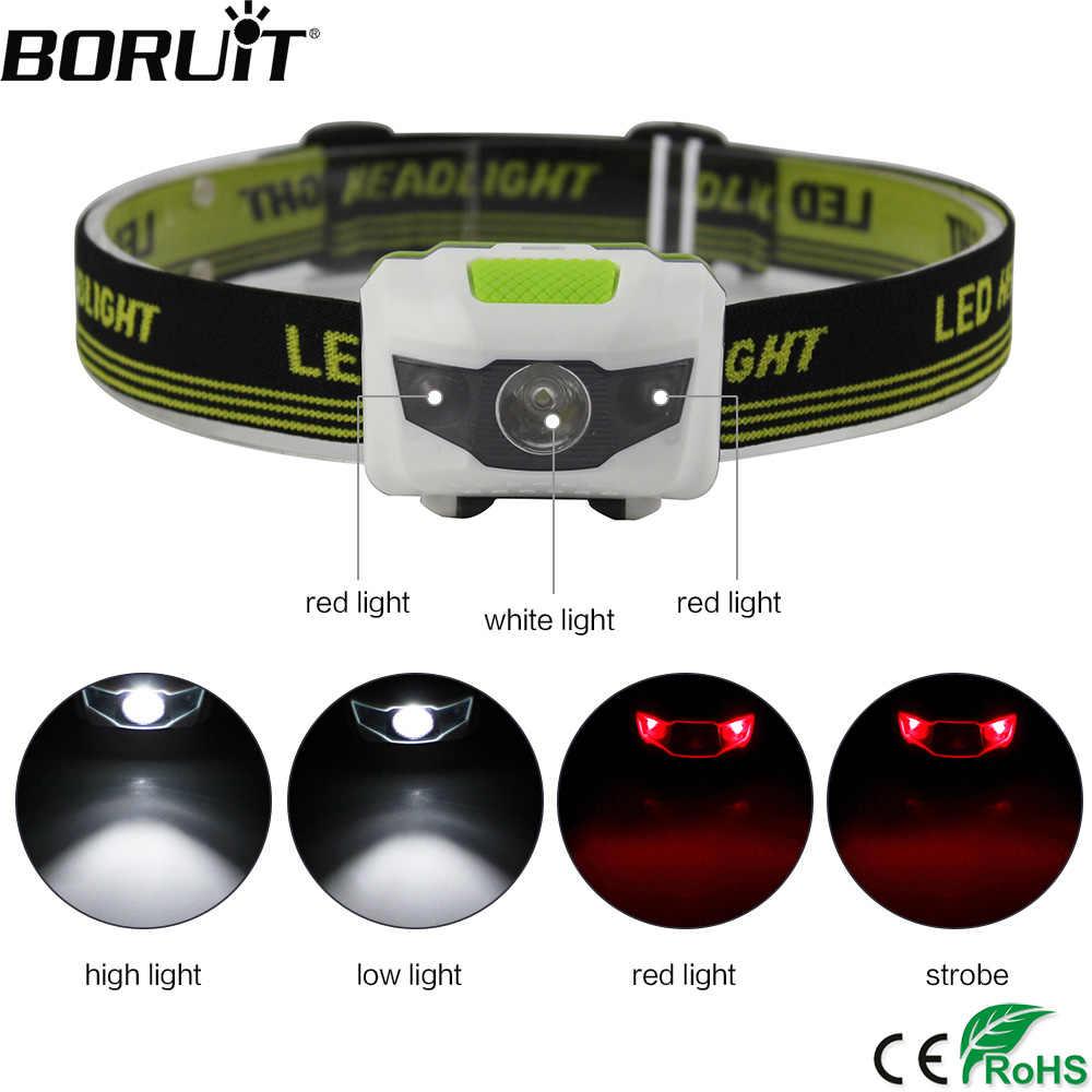 BORUiT 3 LED Mini faro 4-Mode impermeable cabeza linterna Super brillante caza Camping linterna Frontal por batería AAA