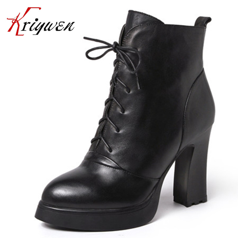 ФОТО Big size 33-40 spring autumn genuine leather women Black platform high heels ankle shoes fashion lace up knot woman offlce shoes