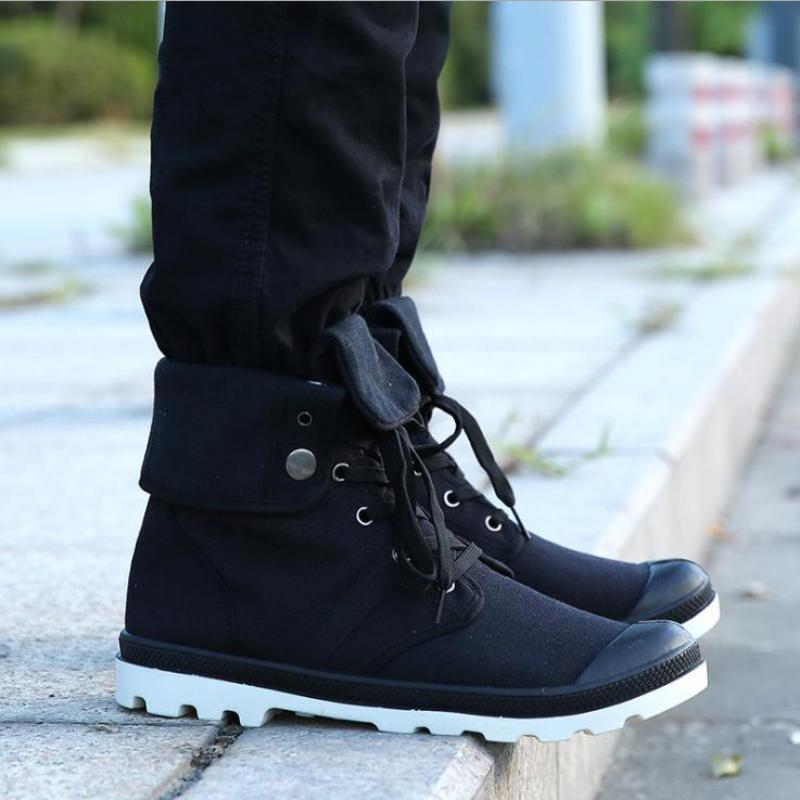 Fooraabo Men Casual Shoes High Top Canvas Shoes 2018 Luxury Outdoors Lace Up Male Shoes With Plus Size 39-46 Black Sneakers Men