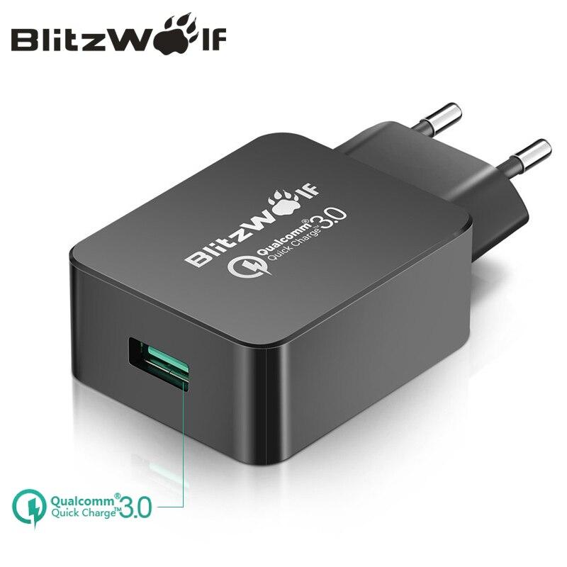 BlitzWolf Reise Wand Ladegerät Schnell Ladung 3,0 USB Ladegerät Adapter EU Stecker 18 watt Universal Handy Ladegerät Für Iphone 7 6 6 s