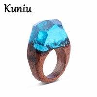 Nueva resina anillos Para Mujer Transparente bosque de madera Hecha A Mano paisaje diseño anillo de la joyería Dropshipping