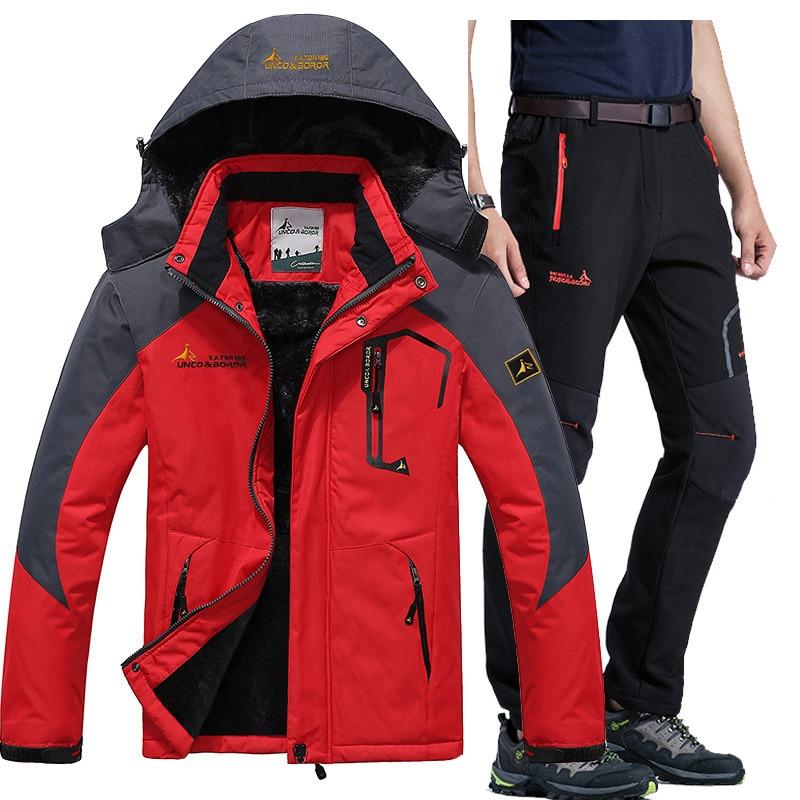 Winter Ski Jacket suits Men Waterproof Fleece Snow Jacket Thermal Coat Outdoor Mountain Skiing Snowboard Jacket Pant suits L-5XL men plus size 4xl 5xl 6xl 7xl 8xl 9xl winter pant sport fleece lined softshell warm outdoor climbing snow soft shell pant