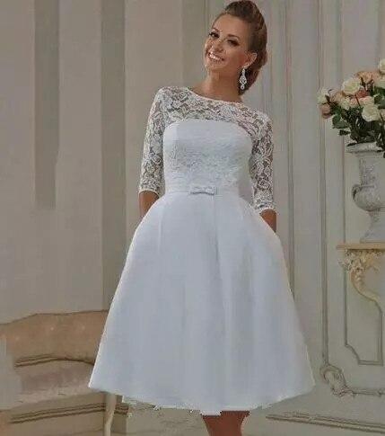 Vestido de Noiva 2019 Elegant a line short Wedding Dresses half Sleeves lace Princess Bridal Gowns wedding gown-in Wedding Dresses from Weddings & Events    3