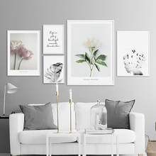 Feather Nordic Poster Pink Flower Posters And Prin