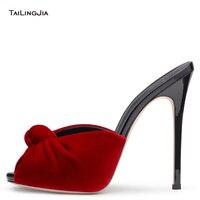 Las mujeres de Tacón Alto Anudada Mulas 2017 Sexy Ladies Negro de Terciopelo Rojo Zapatos de verano Peep Toe Sandalias Del Partido de Tarde Vestido de los Talones del Tamaño Grande