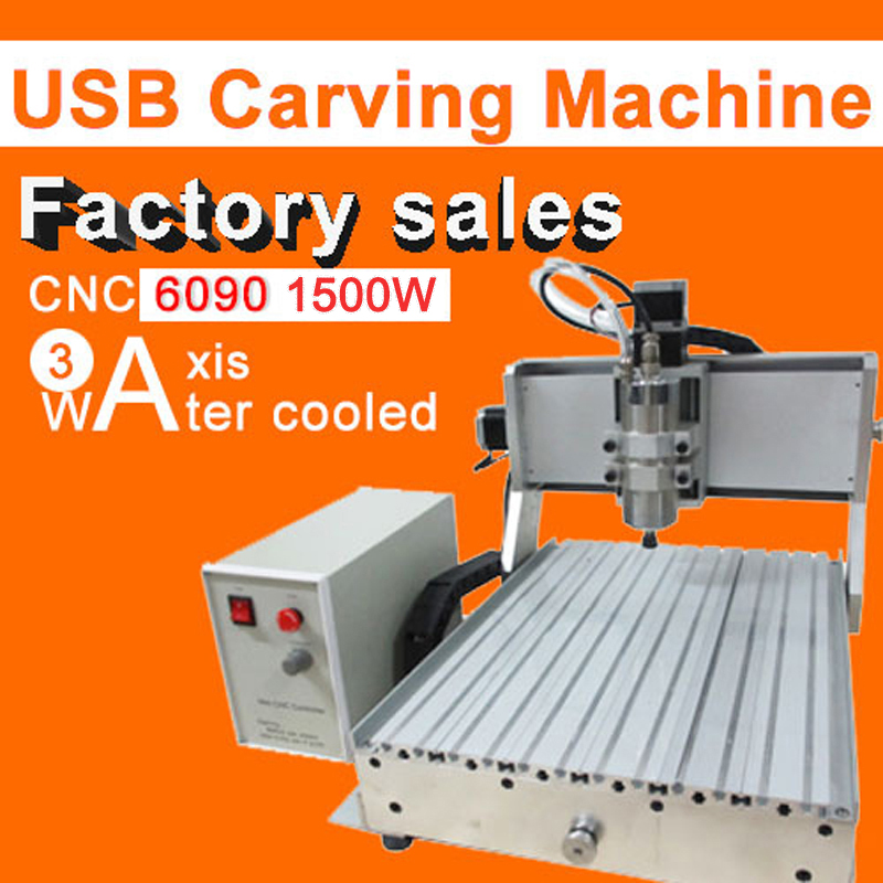 Factory sale new CNC 6090 3axis 1500w engraving machine usb port water cooling carving machine ball screw cutting machine mini 6090 desktop 3 axis cnc carving machine