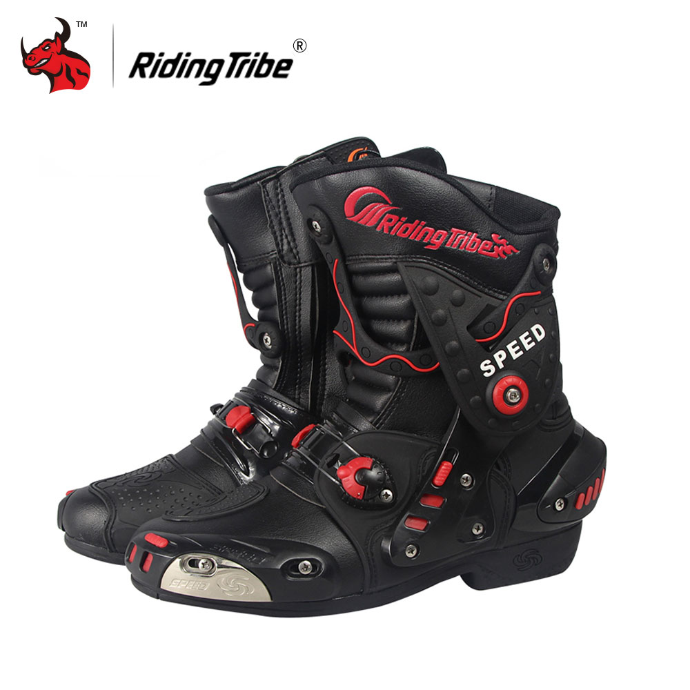 Riding Tribe Speed Motorcycle Boots PU Leather Mid-Calf Boots Breathable Motocross Off-Road Racing Shoes Botas De Motociclista double buckle cross straps mid calf boots