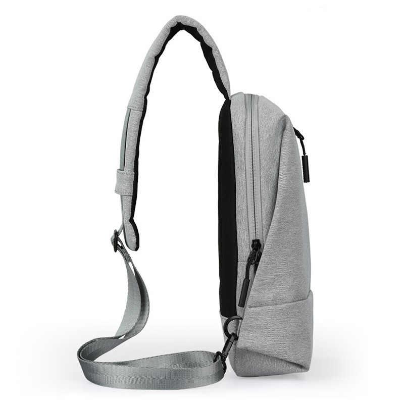 ミクシィ男性 USB 充電胸バッグ若いショルダーマンクロスボディバッグ大学生のための旅行 2019 フィット 9.7 インチの Ipad メッセンジャーバッグ
