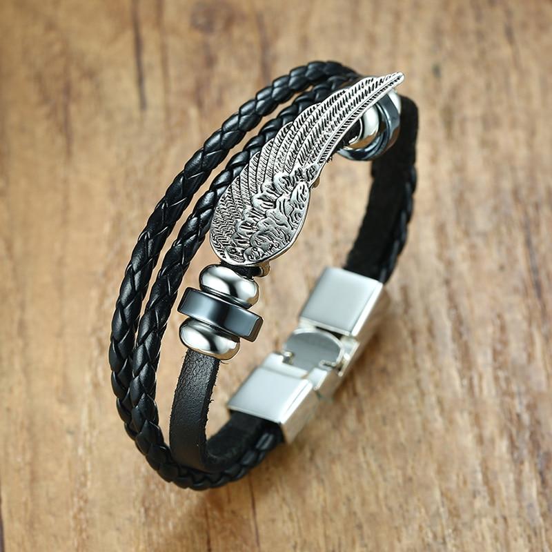 Mens Bracelets Angel Wing Charms Surfer Wrap Tribal Braided Leather Bracelet Cuff Bangle Black Silver Tone Male Jewelry Braslet