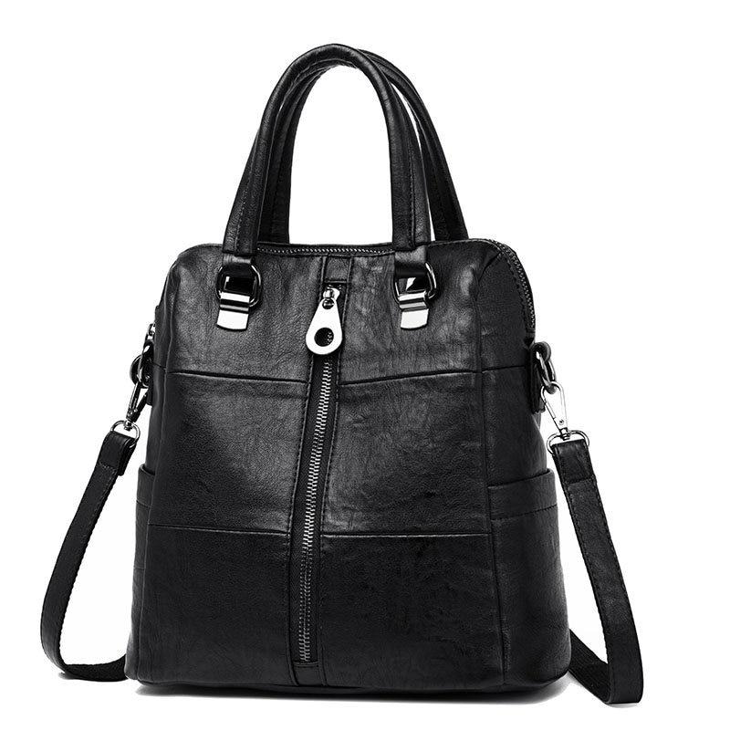 HTB1zR49KuuSBuNjSsziq6zq8pXan 3-in-1 Women Leather Backpacks Vintage Female Shoulder Bag Sac a Dos Travel Ladies Bagpack Mochilas School Bags For Girls Preppy
