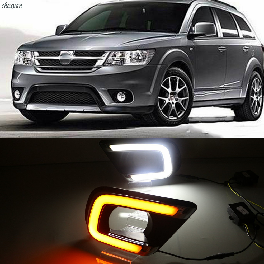 CSCSNL 1 Set LED DRL Daytime Running Lights With Turn Yellow Signal Lamp For Fiat Freemont