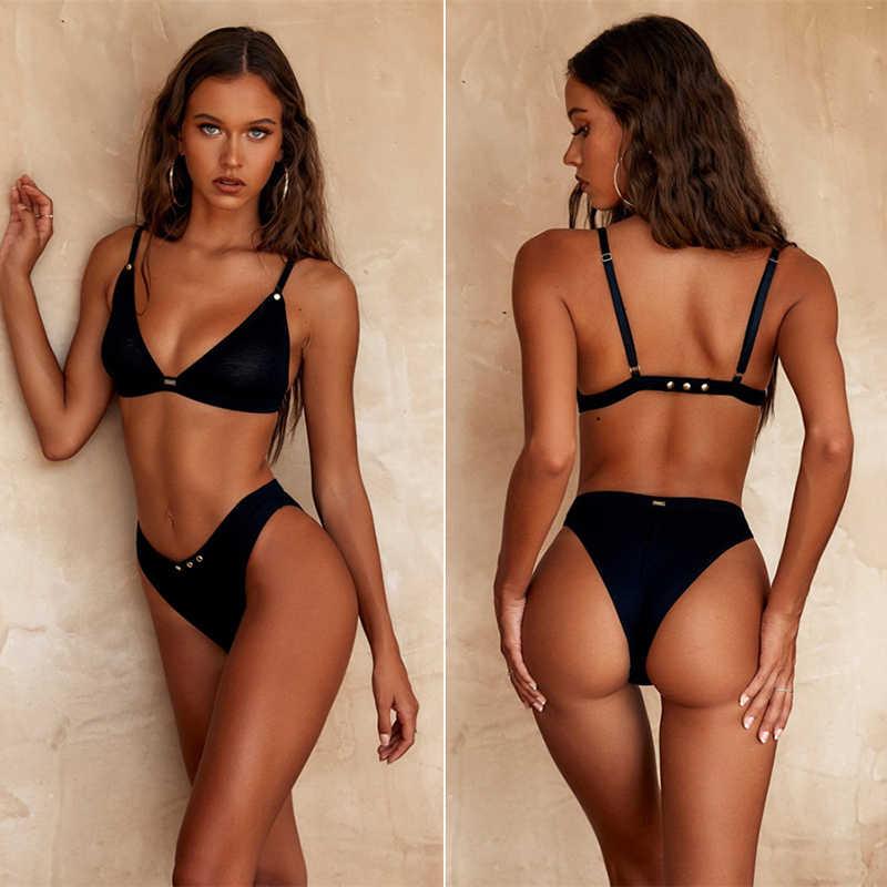 Kobiet oddzielny strój kąpielowy kobiety czarne Bikini 2019 Mujer Bikini dwa kawałki biustonosz Push Up Sexy stroje kąpielowe damskie kostiumy kąpielowe strój kąpielowy