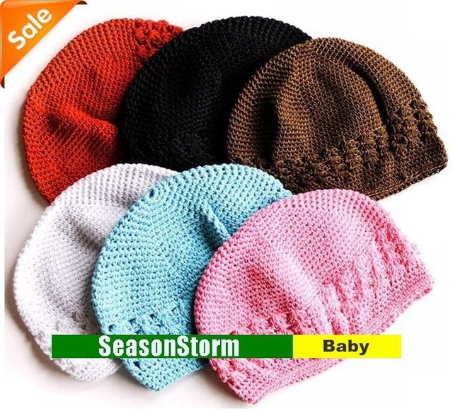 Wholesale lots Baby Crochet Beanies Kufi Hat / Infant Solid Color Knitted Cap (SY-85)