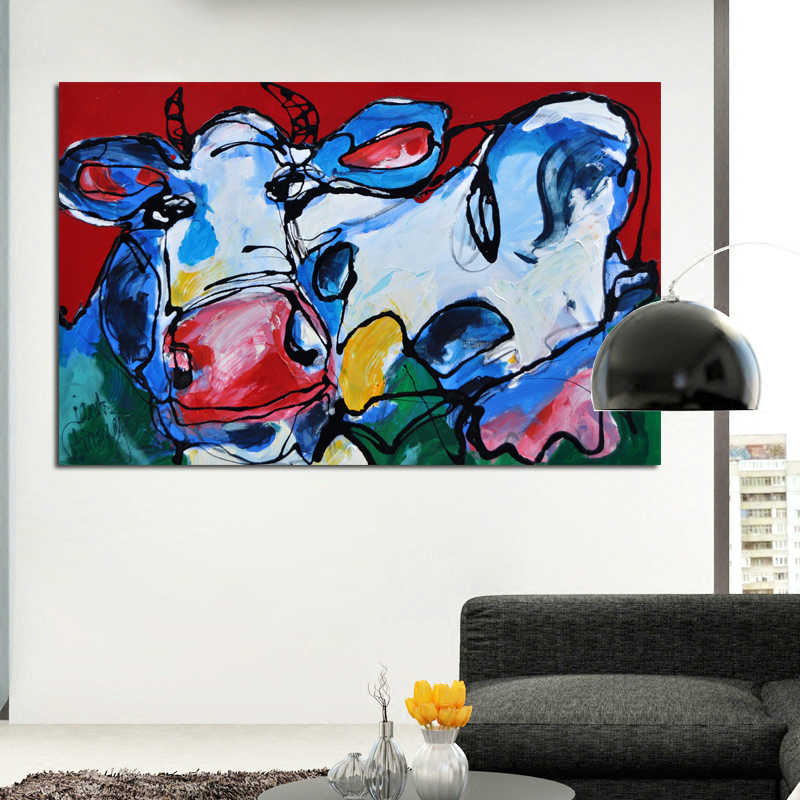 RELIABLI אמנות בד ציור פרה קיר תמונות קיר אמנות הדפסת כרזות דקורטיבי תמונות אמנות לסלון מודרני ללא מסגרת