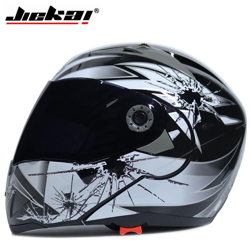 Jiekai Motorcycle helmets Safe Double Visor ECE DOT Flip up helmet casque moto Racing 4 season