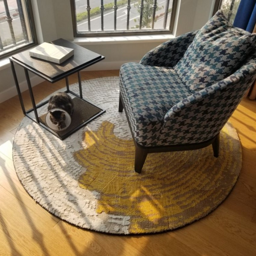 Style moderne 3D motif géométrique tapis, grand rond en forme de tapis de salon, tapis de sol, pastorale décoration de la maison tapis
