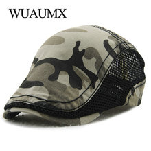 Wuaumx Branded Summer Beret Hat For Men Women Camouflage Breathable Net Visors Cotton Peaked Flat Cap Casquette Boina Masculina