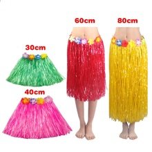 Cheap Plastic Fibers girls Woman Hawaiian Hula Skirt Hula Grass costume Garland Flower Skirts Hula dress up Party Hawaii Beach