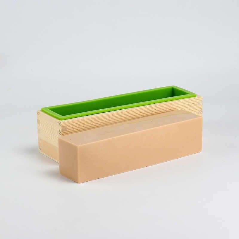 Silikon Cetakan Sabun Persegi Panjang Fleksibel Cetakan dengan Kotak Kayu untuk DIY Buatan Tangan Alat