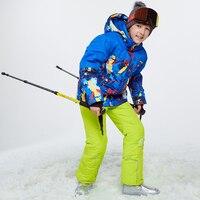 2019 Одежда для мальчиков Зимний Лыжный Сноуборд костюм утолщенный Открытый капюшон теплые спортивные костюмы для мальчиков водонепроницае