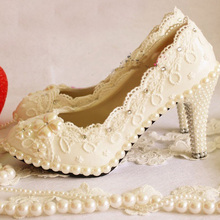 horny ladies marriage ceremony bridal costume footwear style rhinestone imitation pearl ornament lacing platform high-heeled single footwear