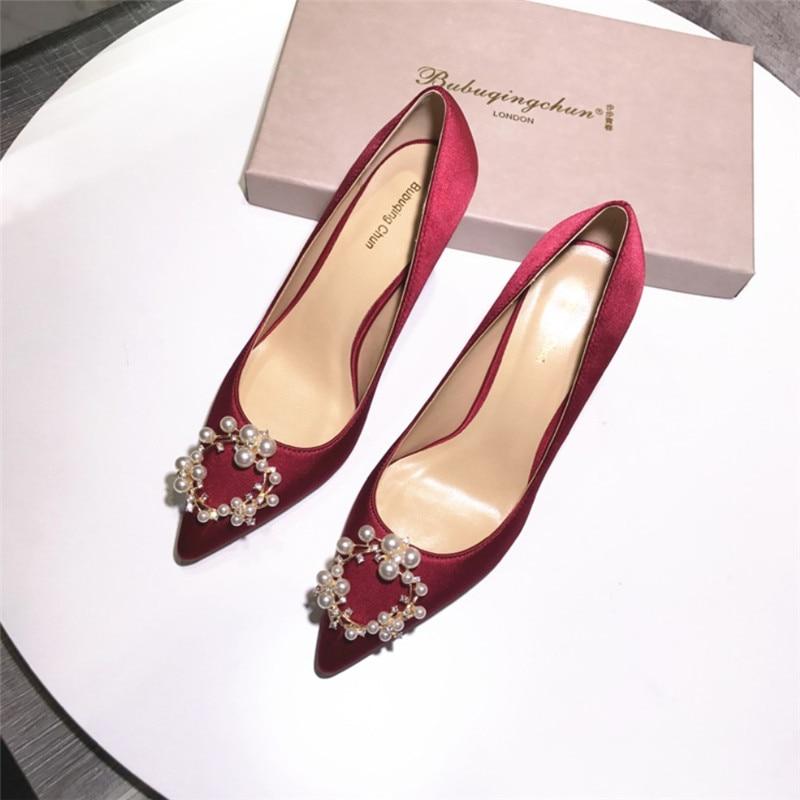 Free Shipping Fashion Women Pumps Burgundy Satin Pearls