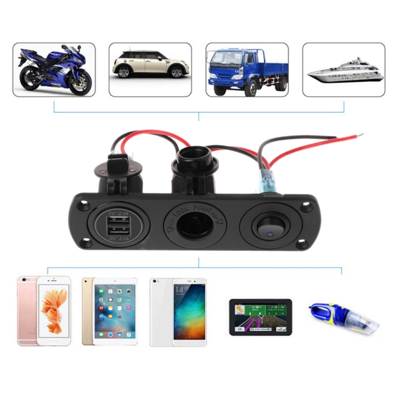 Dual USB Charger Power 2.1A 12V Outlet+ON-OFF Switch Panel for Car Boat Marine