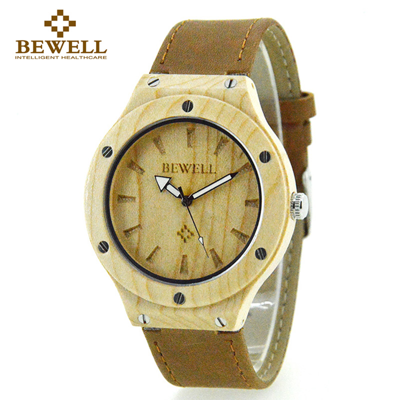 BEWELL Casual Men Quartz Wristwatch Wood Case Leather Band Luxury Top Brand 2016 Women Watches Relogio