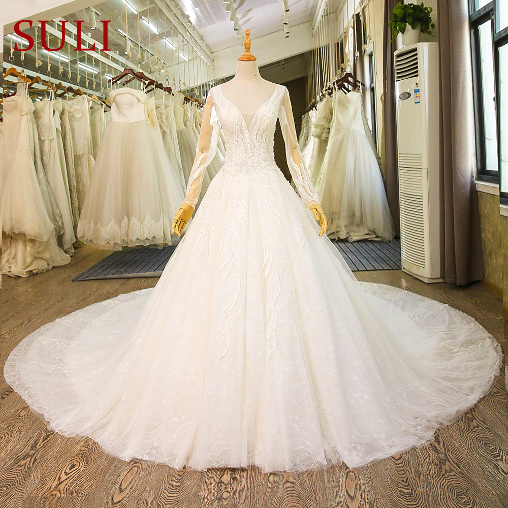 SL 79 Luxury Cathedral French Lace Bridal Gown Muslim Boho
