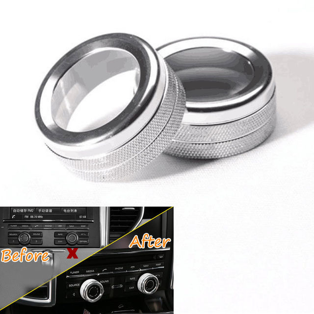 Aluminum Car Silver Volume Tune Whirling Button Decor Trim Ring Fit For Porsche Macan Cayenne Panamera