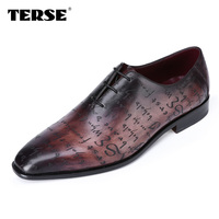 TERSE_New Luxury style Men genuine Leather Shoes Goodyear Fashion Flats oxfords Business Casual Shoes Lace Up shoes dropshipping