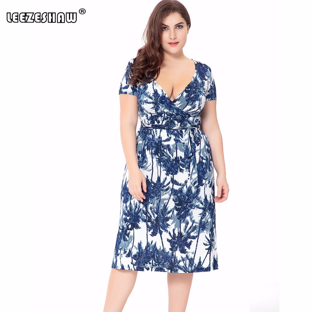 Leezeshaw Womens Plus Size Oversize Deep V Neck High Waist Slim Floral  Printed Leaf Printed Pencil Dress With Belt Overweight-in Dresses from  Women s ... fd6b57b87ec1