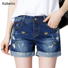 Kobeinc Plus Size Women Denim Shorts 2017 Summer Butterfly Embroidery Short Pants Hole Jeans Pantalones Mujer All-Match Outwears(China)