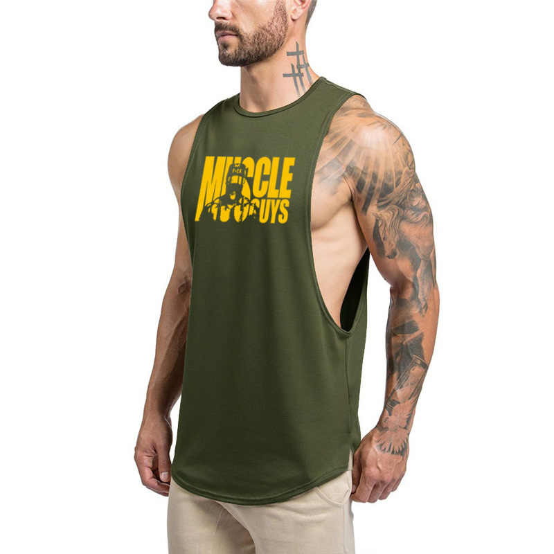 797a6e693f1ba5 Brand Gyms Clothing Fitness Men Tank Top Army Green Mens Bodybuilding  Stringers Tank Tops workout Singlet